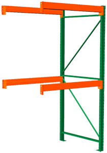 Pallet Rack Adder - 120h x 42d x 48w, 2 Beam Levels - 8400 Cap. Beams