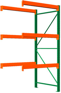 Pallet Rack Adder - 120h x 48d x 48w, 3 Beam Levels - 8400 Cap. Beams