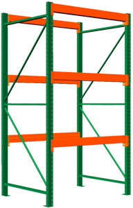 Pallet Rack Starter - 120h x 48d x 48w, 3 Beam Levels - 8400 Cap. Beams