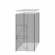 "4-Wall Welded Wire Partition w/ Ceiling - 5'4"" x 5'4"" x 10'5-1/4""H - 3' Hinged Gate"