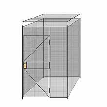 "4-Wall Welded Wire Partition w/ Ceiling - 5'4"" x 5'4"" x 8'5-1/4""H - 3' Hinged Gate"