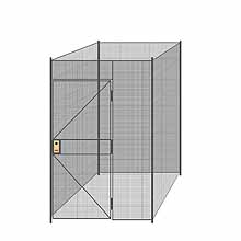 "4-Wall Welded Wire Partition - 5'4"" x 5'4"" x 8'5-1/4""H - 3' Hinged Gate"