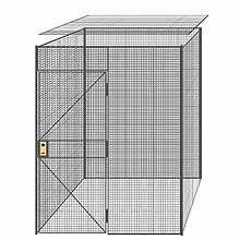 "4-Wall Welded Wire Partition w/ Ceiling - 6'4"" x 6'4"" x 8'5-1/4""H - 3' Hinged Gate"