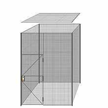 "4-Wall Welded Wire Partition w/ Ceiling - 7'4"" x 7'4"" x 10'5-1/4""H - 3' Hinged Gate"