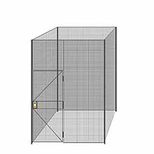 "4-Wall Welded Wire Partition - 7'4"" x 7'4"" x 10'5-1/4""H - 3' Hinged Gate"