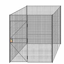 "4-Wall Welded Wire Partition - 7'4"" x 7'4"" x 8'5-1/4""H - 3' Hinged Gate"