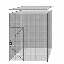 "4-Wall Welded Wire Partition w/ Ceiling - 8'4"" x 8'4"" x 10'5-1/4""H - 3' Hinged Gate"