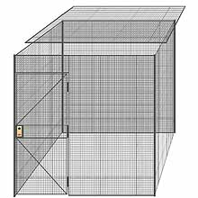 "4-Wall Welded Wire Partition w/ Ceiling - 8'4"" x 8'4"" x 8'5-1/4""H - 3' Hinged Gate"