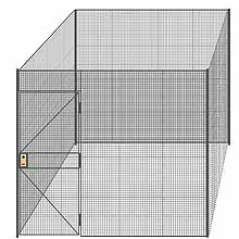 "4-Wall Welded Wire Partition - 9'4"" x 9'4"" x 8'5-1/4""H - 3' Hinged Gate"