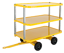 "4-Wheel Quad Steer Trailer, Triple Deck - 36""W x 60""L, 2,000 lb. Deck Cap."