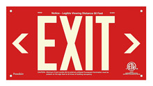 "EXIT Sign, Left & Right Arrows, 6"" Letters - UL924 ETL-Listed, Photoluminescent, Red Aluminum Panel, Unframed"