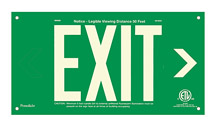 "EXIT Sign, Right Arrow, 6"" Letters - UL924 ETL-Listed, Photoluminescent, Green Aluminum Panel, Unframed"