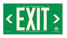 "EXIT Sign, Left & Right Arrows, 6"" Letters - UL924 ETL-Listed, Photoluminescent, Green Aluminum Panel, Unframed"