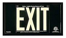 "EXIT Sign, 6"" Letters - UL924 ETL-Listed, Photoluminescent, Black Aluminum Panel, Black Frame, (2) Self-Adhesive Arrows"