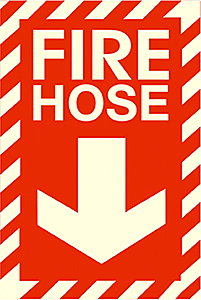 "Safety Sign, FIRE HOSE, Red, Self-Adhesive Film - Photoluminescent, 8"" x 12"""