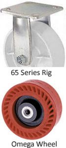 "65 Series Rigid Caster - 8"" x 2"" Omega Wheel - 1,200 lb. Cap."