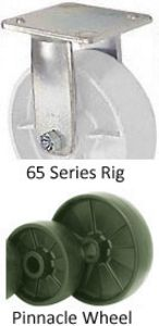 "65 Series Rigid Caster - 6"" x 2"" Pinnacle Wheel - 1,200 lb. Cap."