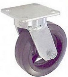 "65 Series Swivel Caster with 4"" x 2"" Rubber on Iron Wheel and 350 lb. Capacity"