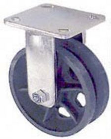 "65 Series Rigid Caster - 8"" x 2"" V-Groove Iron Wheel - 1,050 lb. Cap."