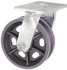 "65 Series Swivel Caster with 4"" x 2"" V-Groove Iron Wheel and 800 lb. Capacity"