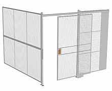 "2-Wall Woven Wire Security Cage, No Ceiling, 10'2"" x 10'2"" x 8'5-1/4"" with 5' sliding gate"