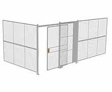 "2-Wall Woven Wire Security Cage, No Ceiling, 20'4"" x 10'2"" x 8'5-1/4"" with 5' sliding gate"