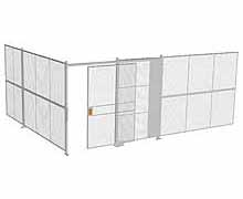 "2-Wall Woven Wire Security Cage, No Ceiling, 20'4"" x 15'4"" x 8'5-1/4"" with 5' sliding gate"