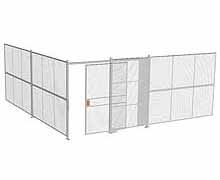 "2-Wall Woven Wire Security Cage, No Ceiling, 20'4"" x 20'4"" x 8'5-1/4"" with 5' sliding gate"