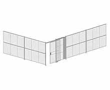 "2-Wall Woven Wire Security Cage, No Ceiling, 30'6"" x 20'4"" x 8'5-1/4"" with 5' sliding gate"
