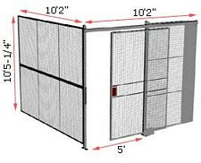 "2-Wall Woven Wire Security Cage, No Ceiling, 10'2"" x 10'2"" x 10'5-1/4"" with 5' sliding gate"