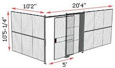 "2-Wall Woven Wire Security Cage, No Ceiling, 20'4"" x 10'2"" x 10'5-1/4"" with 5' sliding gate"