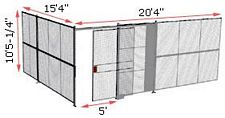 "2-Wall Woven Wire Security Cage, No Ceiling, 20'4"" x 15'4"" x 10'5-1/4"" with 5' sliding gate"