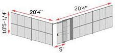 "2-Wall Woven Wire Security Cage, No Ceiling, 20'4"" x 20'4"" x 10'5-1/4"" with 5' sliding gate"