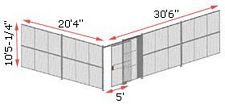 "2-Wall Woven Wire Security Cage, No Ceiling, 30'6"" x 20'4"" x 10'5-1/4"" with 5' sliding gate"