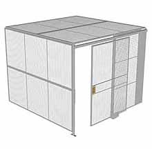 "2-Wall Woven Wire Security Cage, w/Ceiling, 10'2"" x 10'2"" x 8'5-1/4"" with 5' sliding gate"
