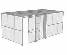 "2-Wall Woven Wire Security Cage, w/Ceiling, 20'4"" x 10'2"" x 8'5-1/4"" with 5' sliding gate"