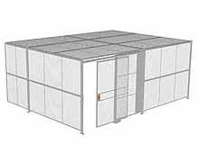 "2-Wall Woven Wire Security Cage, w/Ceiling, 20'4"" x 15'4"" x 8'5-1/4"" with 5' sliding gate"