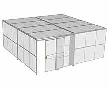 "2-Wall Woven Wire Security Cage, w/Ceiling, 20'4"" x 20'4"" x 8'5-1/4"" with 5' sliding gate"