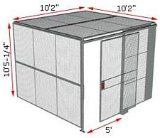 "2-Wall Woven Wire Security Cage, w/Ceiling, 10'2"" x 10'2"" x 10'5-1/4"" with 5' sliding gate"