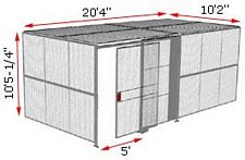"2-Wall Woven Wire Security Cage, w/Ceiling, 20'4"" x 10'2"" x 10'5-1/4"" with 5' sliding gate"