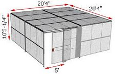 "2-Wall Woven Wire Security Cage, w/Ceiling, 20'4"" x 20'4"" x 10'5-1/4"" with 5' sliding gate"