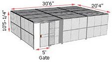 "2-Wall Woven Wire Security Cage, w/Ceiling, 30'6"" x 20'4"" x 10'5-1/4"" with 5' sliding gate"