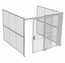 "3-Wall Woven Wire Security Cage, No Ceiling, 10'4"" x 10'2"" x 8'5-1/4"" with 5' sliding gate"