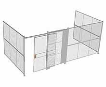 "3-Wall Woven Wire Security Cage, No Ceiling, 20'6"" x 10'2"" x 8'5-1/4"" with 5' sliding gate"