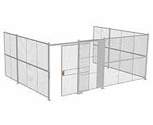 "3-Wall Woven Wire Security Cage, No Ceiling, 20'6"" x 15'4"" x 8'5-1/4"" with 5' sliding gate"