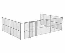 "3-Wall Woven Wire Security Cage, No Ceiling, 30'8"" x 20'4"" x 8'5-1/4"" with 5' sliding gate"