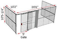 "3-Wall Woven Wire Security Cage, No Ceiling, 20'6"" x 10'2"" x 10'5-1/4"" with 5' sliding gate"