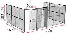 "3-Wall Woven Wire Security Cage, No Ceiling, 20'6"" x 15'4"" x 10'5-1/4"" with 5' sliding gate"