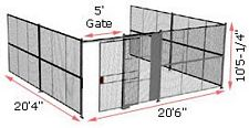 "3-Wall Woven Wire Security Cage, No Ceiling, 20'6"" x 20'4"" x 10'5-1/4"" with 5' sliding gate"