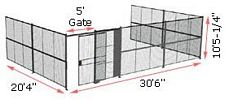 "3-Wall Woven Wire Security Cage, No Ceiling, 30'6"" x 20'4"" x 10'5-1/4"" with 5' sliding gate"
